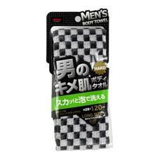 Массажная мочалка жесткая, удлиненная, черная  AISEN MEN'S 28х120 см