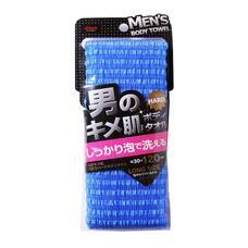 Массажная мочалка жесткая, удлиненная синяя AISEN MEN'S 30х120 см нейлон 100%