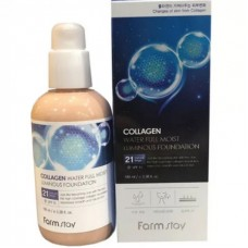 Коллагеновый тональный крем с эффектом сияния FarmStay Collagen Water Full Moist Luminous Foundation #21, SPF 15, 100мл