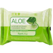 Очищающие увлажняющие салфетки с экстрактом алоэ FarmStay Aloe Moisture Soothing Cleansing Tissue, 30шт