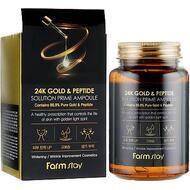 Многофункциональная ампульная сыворотка с золотом и пептидами FarmStay 24K Gold & Peptide Solution Prime Ampoule, 250 мл