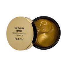 Гидрогелевые патчи для глаз с 24-х каратным золотом и пептидами FarmStay 24K Gold & Peptide Solution Ampoule Eye Patch, 60 шт