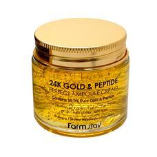 Ампульный крем с золотом и пептидами FarmStay 24K Gold & Peptide Perfect Ampoule Cream, 80мл