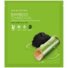 Маска для лица тканевая бамбук и древесный уголь NATURE REPUBLIC BAMBOO CHARCOAL BLACK MASK SHEET 27 мл