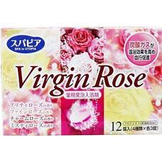 Соль для ванны Fuso Kagaku Virgin Rose на основе углекислого газа c бодрящим эффектом и ароматом роз (12 таблеток х40 гр.)