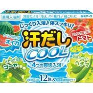 Освежающая соль для ванны Hakugen Earth Asedashi COOL на основе углекислого газа с аминокислотами, витамином С и экстрактами томата и люффы, 25 гр. х 12 пакетов