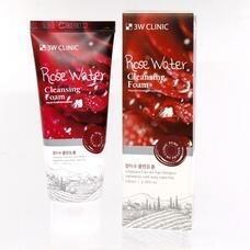 3W CLINIC Пенка для умывания натуральная РОЗОВАЯ ВОДА Rose Water Cleansing Foam 100 мл