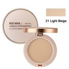 Пудра компактная золотая 21 тон THE SAEM Eco Soul Luxury Gold Pact 21 Light Beige 9гр