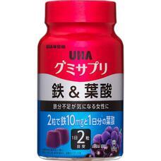 Жевательные витамины UHA Gummy Supple железо и фолиевая кислота с коллагеном со вкусом ягод асаи и винограда № 60