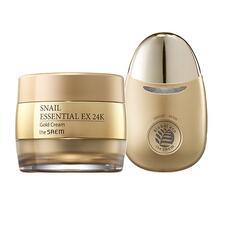 Крем для лица с муцином улитки и вибромассажер THE SAEM Snail Essential EX 24K Gold Cream Set 50 мл