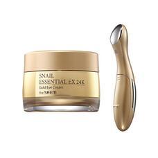 Крем для кожи вокруг глаз с муцином улитки и вибромассажер THE SAEM Snail Essential EX 24K Gold Eye Cream Set 30 мл