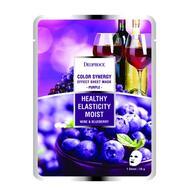 Маска тканевая на основе черники и красного винограда GREENCOS DEOPROCE COLOR SYNERGY EFFECT SHEET MASK PURPLE 20 гр