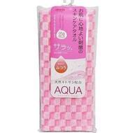 Массажная мочалка AISEN AQUA Аква средней жесткости, удлиненная, с хитозаном, ярко-розовая в клетку, 28х110 см,  нейлон 50%, хлопок 25%, полиэстер 25%