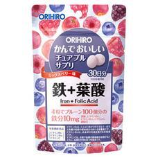Жевательные витамины железо, фолиевая кислота и витамины со вкусом ягод ORIHIRO IRON № 120