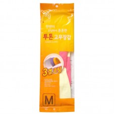 Перчатки латексные хозяйственные двухцветные MYUNGJIN размер М, 33см х 20см