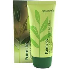 FarmStay Green Tea Seed Whitening Water Cream Увлажняющий защитный крем с семенами зеленого чая SPF50 +PA+++ 70 гр