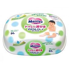Влажные гигиенические салфетки MERRIES пластиковый контейнер 64 шт