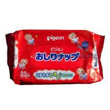 Детские влажные гигиенические салфетки с косметическим молочком PIGEON запасной блок, 66 шт