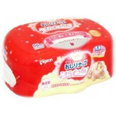 Детские влажные гигиенические салфетки с косметическим молочком PIGEON пластиковый контейнер, 66 шт