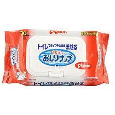 Детские влажные гигиенические салфетки PIGEON мягкая упаковка с клапаном, 70 шт